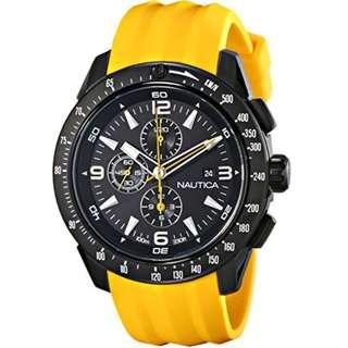 Nautica Men's N18599G NST 101 Stainless Steel Watch with Yellow Silicon Band