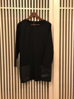 黑色 長版太空棉拼皮口袋上衣