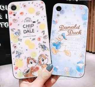 chip and dale x Donald Duck tempered glass couple phone casing