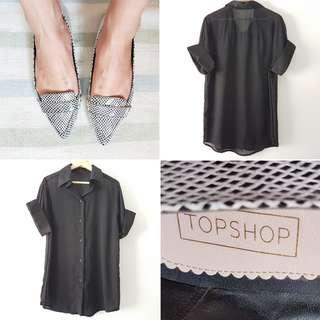 FREE POS Topshop Point Flats in Black & White + Vintage Oversize Artist's Shirt Blouse in Black