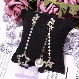 <free pos 3 pairs & above> Korean Design star shape with pearl long earrings
