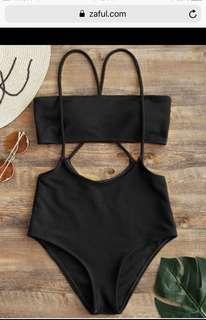 High waisted black Zaful swimsuit
