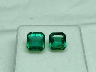 Natural emerald (6.80 carat) from Zambia matching pair