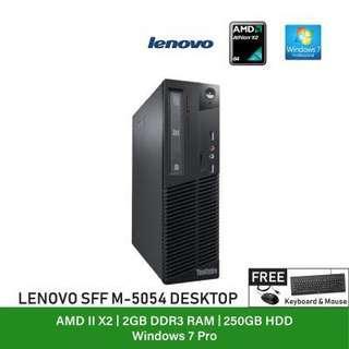 (Refurbished Desktop) Lenovo ThinkCentre M75e Type 5054 SFF / AMD Athlon II X2 / Windows 7