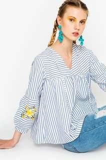 COTTON INK blue striped diana blouse
