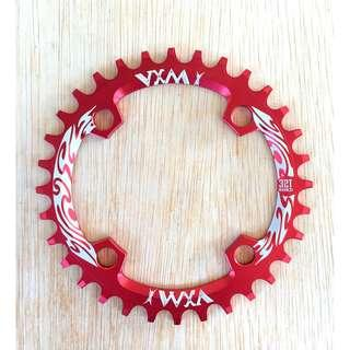 32T 96 BCD Narrow Wide Chainring  VXM single chain ring in Red