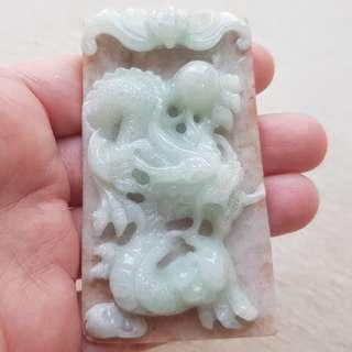 Certified Type A Jadeite Pendant Red Green Jade Ruyi Bat Dragon 幸福 如意 龙