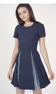 Dikaia Pleated Dress in Midnight