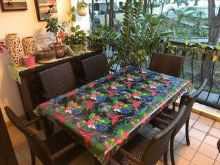 Ratan outdoor dining table & chairs