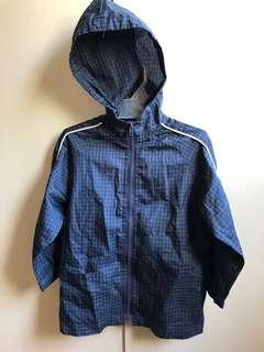 Navy Blue Checkered Hoodie Jacket