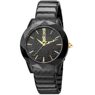 Just Cavalli Women's JC1L003M0095 Black Dial with Black Stainless-Steel Band Watch.