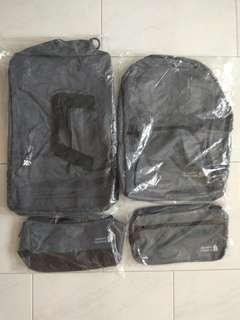 New! 4 Standard Chartered bags (Funny pack, Backpack, Hand carry, Cosmetic bag)