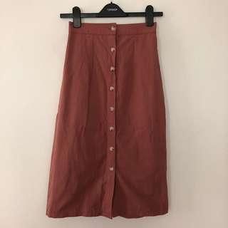🚚 Nude Pink A-Line Midi Skirt