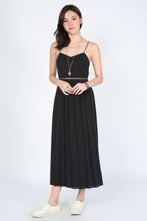 🚚 Love Bonito Delrisha Pleated Midi Dress in Black