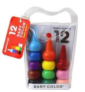 日本直送 📝兒童無毒蠟筆 Baby Color 12色