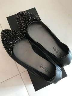 🚚 Pazzion Black Chic Flat with Crystal Embellishments