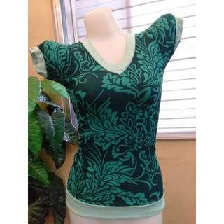 V Neck Body Fit Abstract Blue Green Blouse Trendy Top Korean