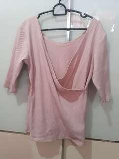 🚚 Dusty Pink Wrapfront Ribbed Blouse L-XL