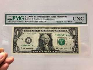US$1 2009 Federal Reserve Note Richmond PMG UNC Uncirculated