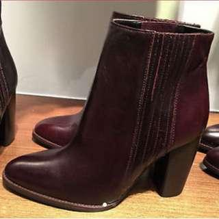 New Zara Leather boots size 37/ UK 4
