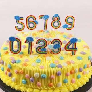 ▪彩虹數字▪兒童無煙創意0-9數字生日蛋糕蠟燭/浪漫求婚表白道具/香薰蠟燭