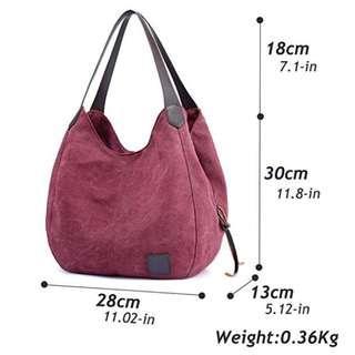 紫咖色棉帆布手提包肩袋 BAG