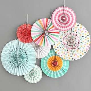 🚚 Quality Party Paper Fans/ Rosettes (Set of 8)