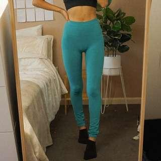 Free People Teal Seamless Barely There High Waist Tights