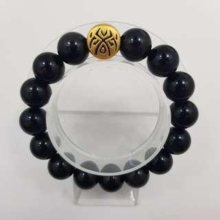 🚚 999 Pure Gold 'Luck' Tattoo Charm with Black Obsidian Beads Bracelet