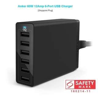 ANKER 60W 6 Port USB Charger PowerIQ VoltageBoost