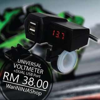 Universal waterproof Voltmeter with dual usb port