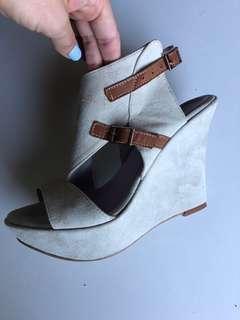 Italian suede tan beige platform heel / bootlet