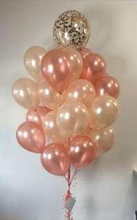 Rose and champagne gold balloons