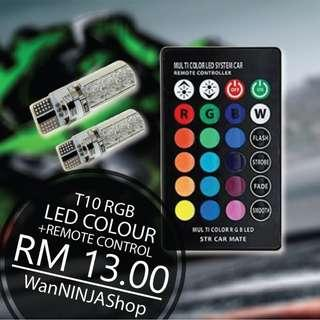 One pair T10 t10 rgb led with remote control up to 15 colour