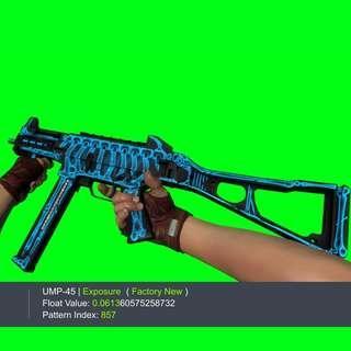 UMP-45 EXPOSURE FN FACTORY NEW UMP45 UMP CSGK SKIN GLOVE KEY KNIFE SKINS GLOVES KEYS