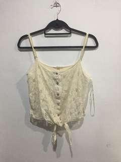 Laced front tie cropped top