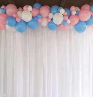 Dessert table and photo booth backdrop & balloon garland