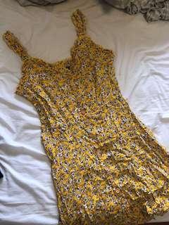 Yellow floral summer sun dress