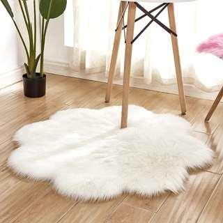 Plush Faux Fur Rug-Plum Blossom Petal Flower Shaped | Carpet