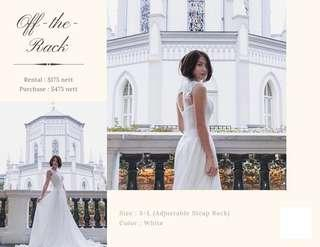 White Wedding Gown with Long Train for Rent