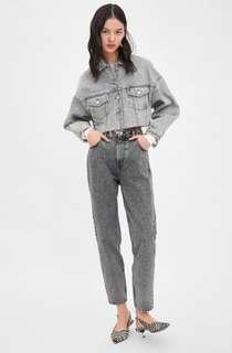 Brand New Zara Mom Jeans Light Grey