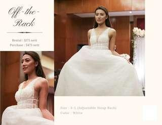 Deep V Wedding Gown for Rent