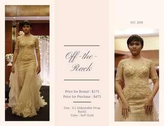 Soft Gold Lace Wedding Dress for Rent