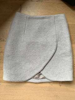 Carven gray tulip wool skirt 花瓣裙