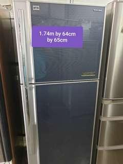 🚚 Used toshiba black 360 litres huge fridge cheap good with free delivery