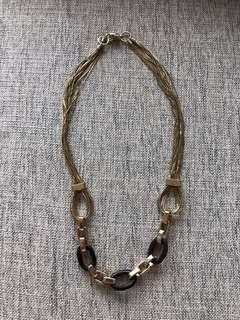 🚚 Massimo Dutti Gold and Wood cable necklace