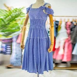 Off-shoulder plaid dress