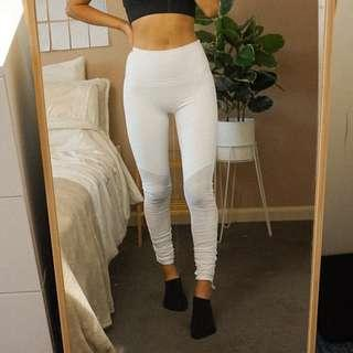 Fabletics White Ruched High Waist Tights