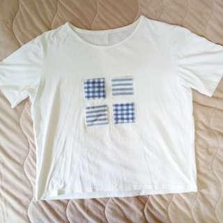 🚚 日系 | 莫黛爾棉 拼接貼布 短袖t恤 白