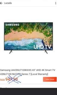 3 sets Clearance Sale!!! Samsung 43 inches 4K UHD Smart Digital Ready LED TV!!